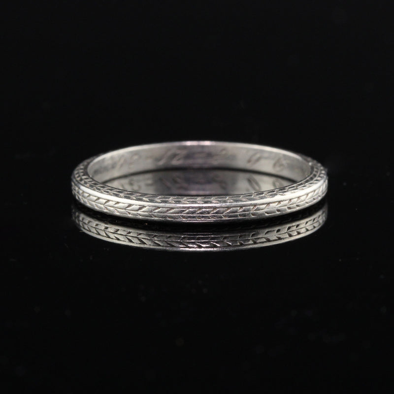 Circa 1934 - Antique Art Deco Platinum Engraved Wedding Band - Size 7