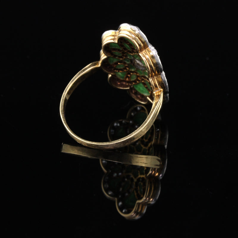 Antique Edwardian Yellow Gold Plique a Jour Enamel Diamond Shield Ring