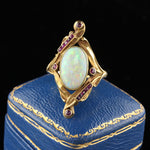 Antique Art Nouveau French 18K Yellow Gold Opal & Ruby Ring