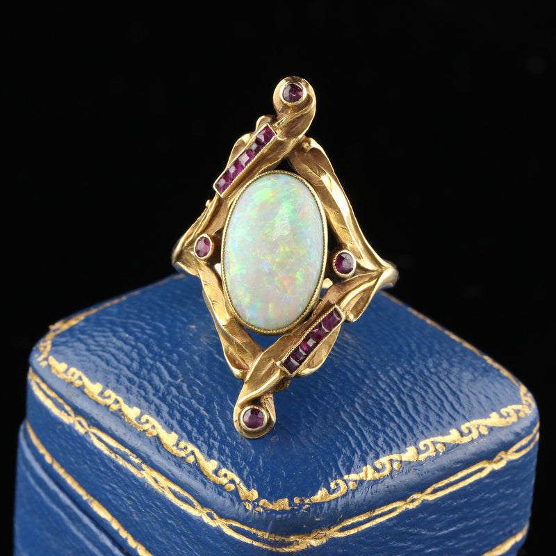 Antique Art Nouveau French 18K Yellow Gold Opal & Ruby Ring - The Antique Parlour