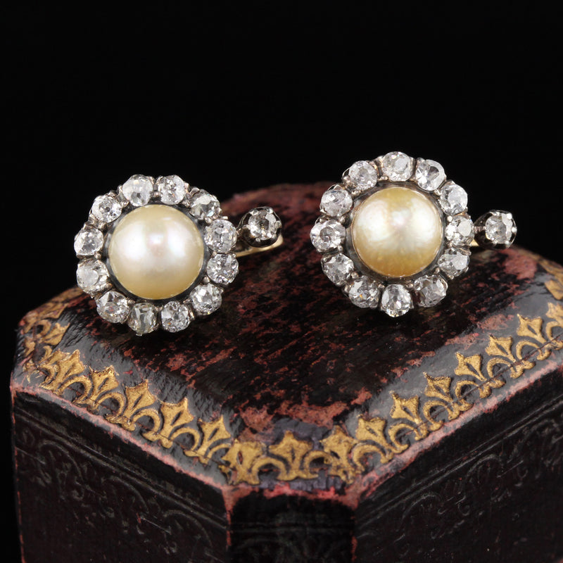 Antique Victorian Yellow Gold French Diamond & Natural Pearl Cluster Earrings GIA