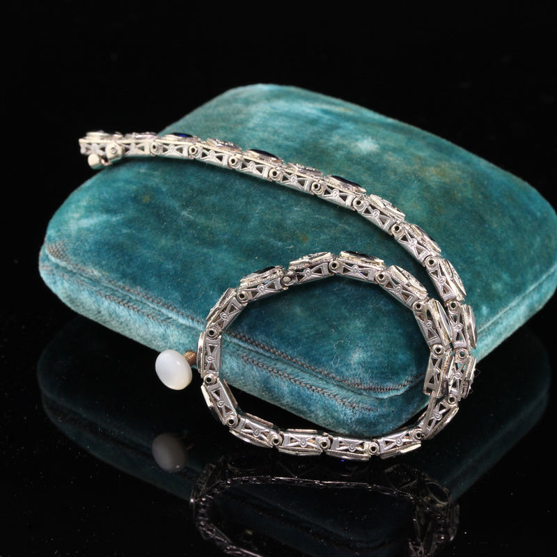 Antique Art Deco 14K White Gold Diamond & Sapphire Bracelet