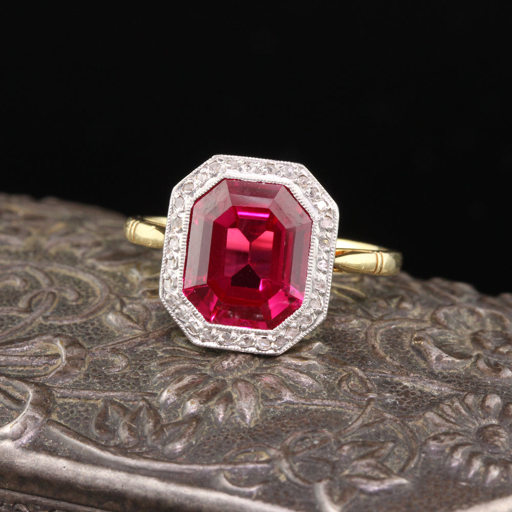 Antique Edwardian 18K Yellow Gold Platinum Top French Synthetic Ruby & Diamond Cocktail Ring
