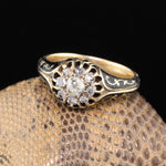 Antique Victorian 14K Yellow Gold Diamond & Black Enamel Cluster Engagement Ring