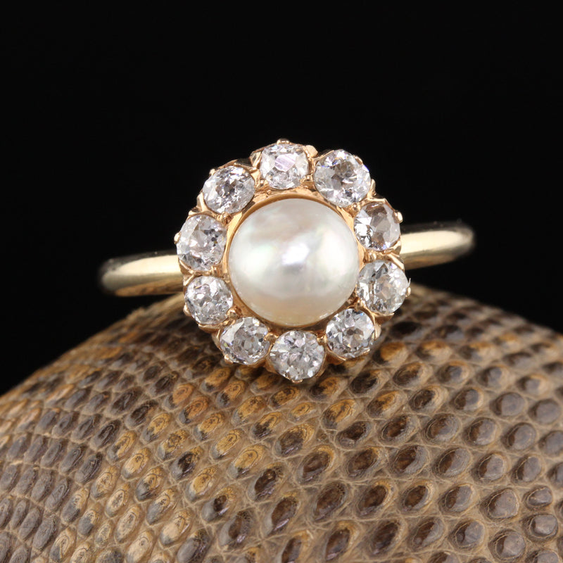 Antique Victorian 14K Yellow Gold Natural Pearl & Diamond Cluster Ring - The Antique Parlour