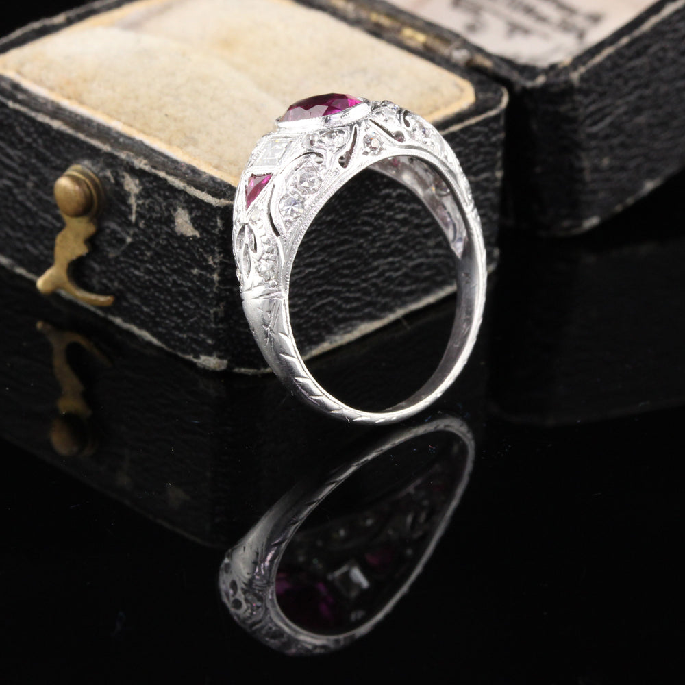Antique Edwardian Platinum Burma No Heat Ruby & Diamond Engagement Ring - The Antique Parlour