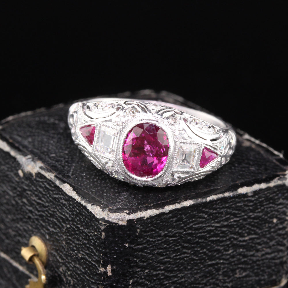 Antique Edwardian Platinum Burma No Heat Ruby & Diamond Engagement Ring