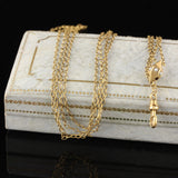 Victorian 10K Yellow Gold Seed Pearl Chain - The Antique Parlour