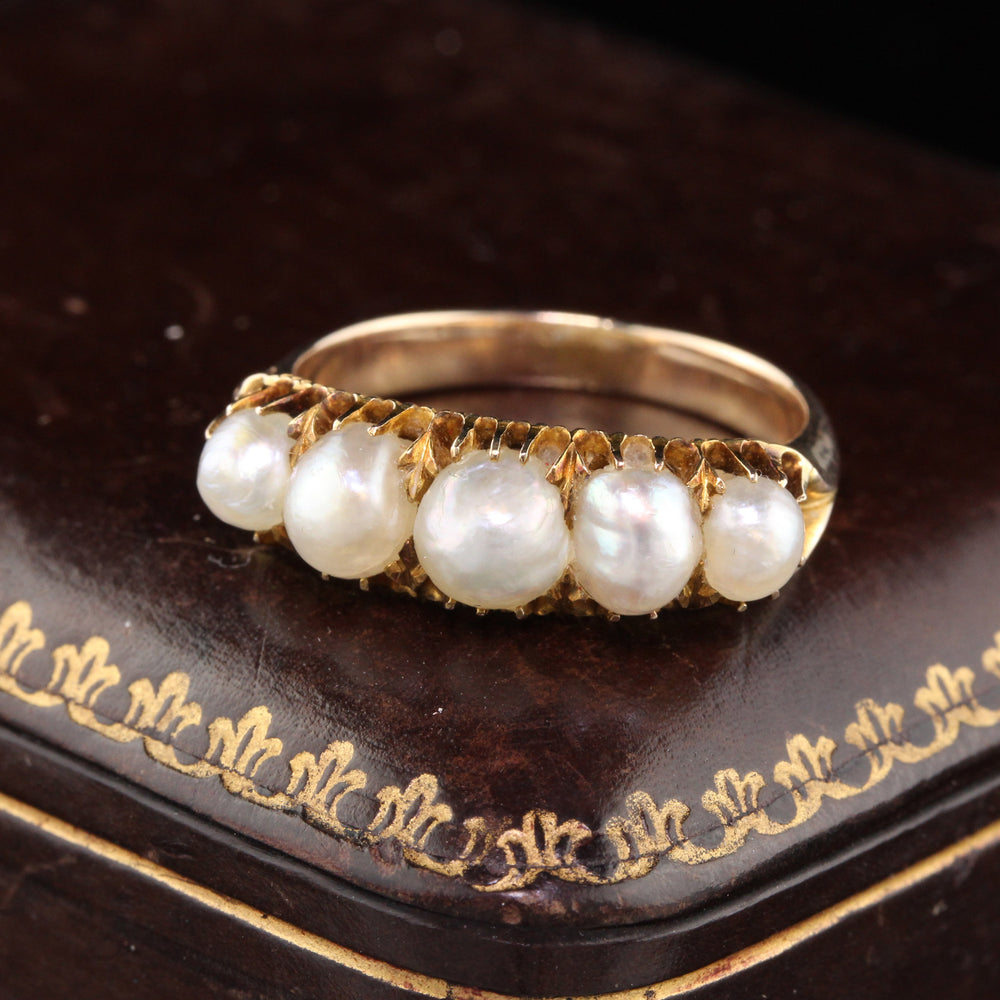 Antique Victorian 14K Yellow Gold Natural Pearl 5-Stone Half Hoop Ring - The Antique Parlour