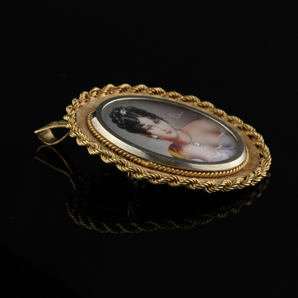 Antique 18K Yellow Gold Hand Painted Woman Pendant/Brooch - The Antique Parlour