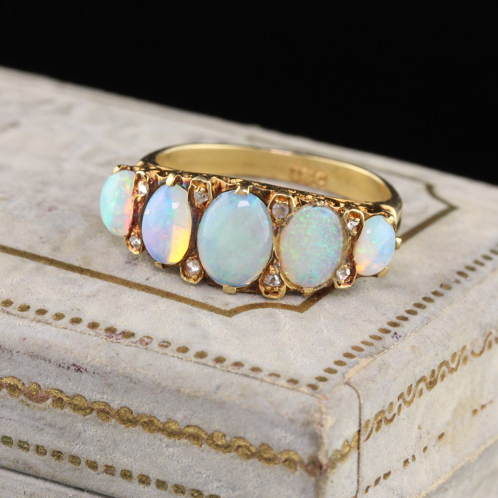 Antique Victorian 18K Yellow Gold Opal & Rose Cut Diamond 5-Stone Half Hoop Ring