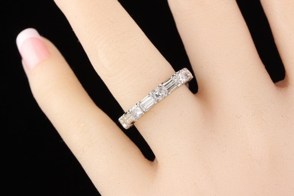 Vintage Estate Platinum Diamond Eternity Band - Size 7 3/4 - The Antique Parlour