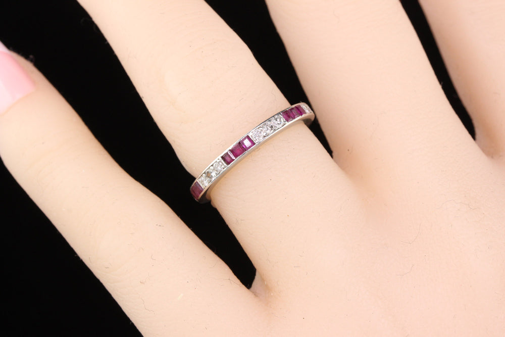 Antique Art Deco Platinum Ruby & Diamond Eternity Band - Size 6 - The Antique Parlour