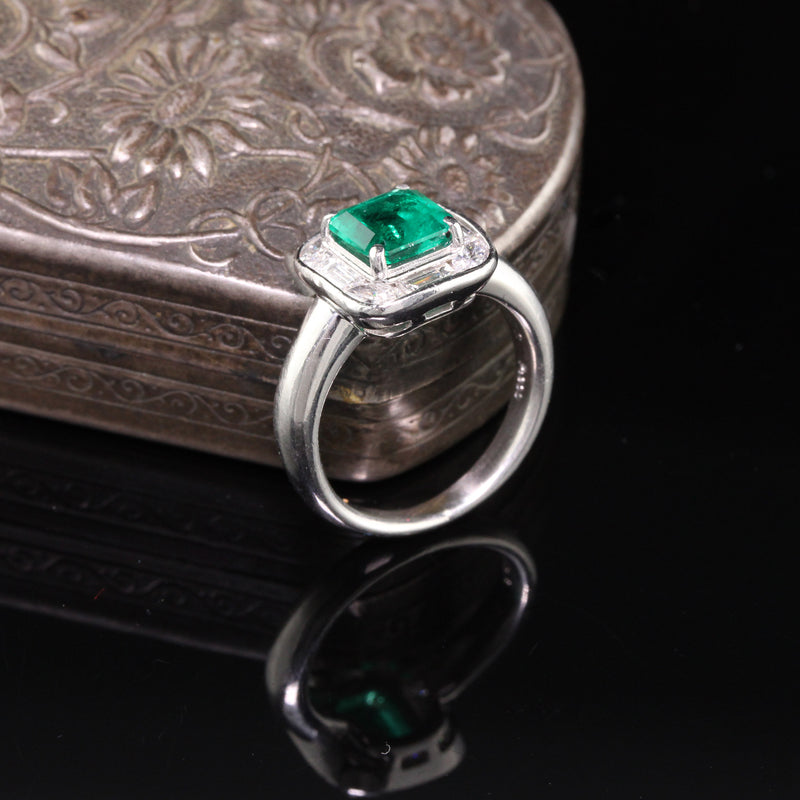Vintage Retro Platinum Colombian Emerald & Diamond Ring - GIA Certified! - The Antique Parlour