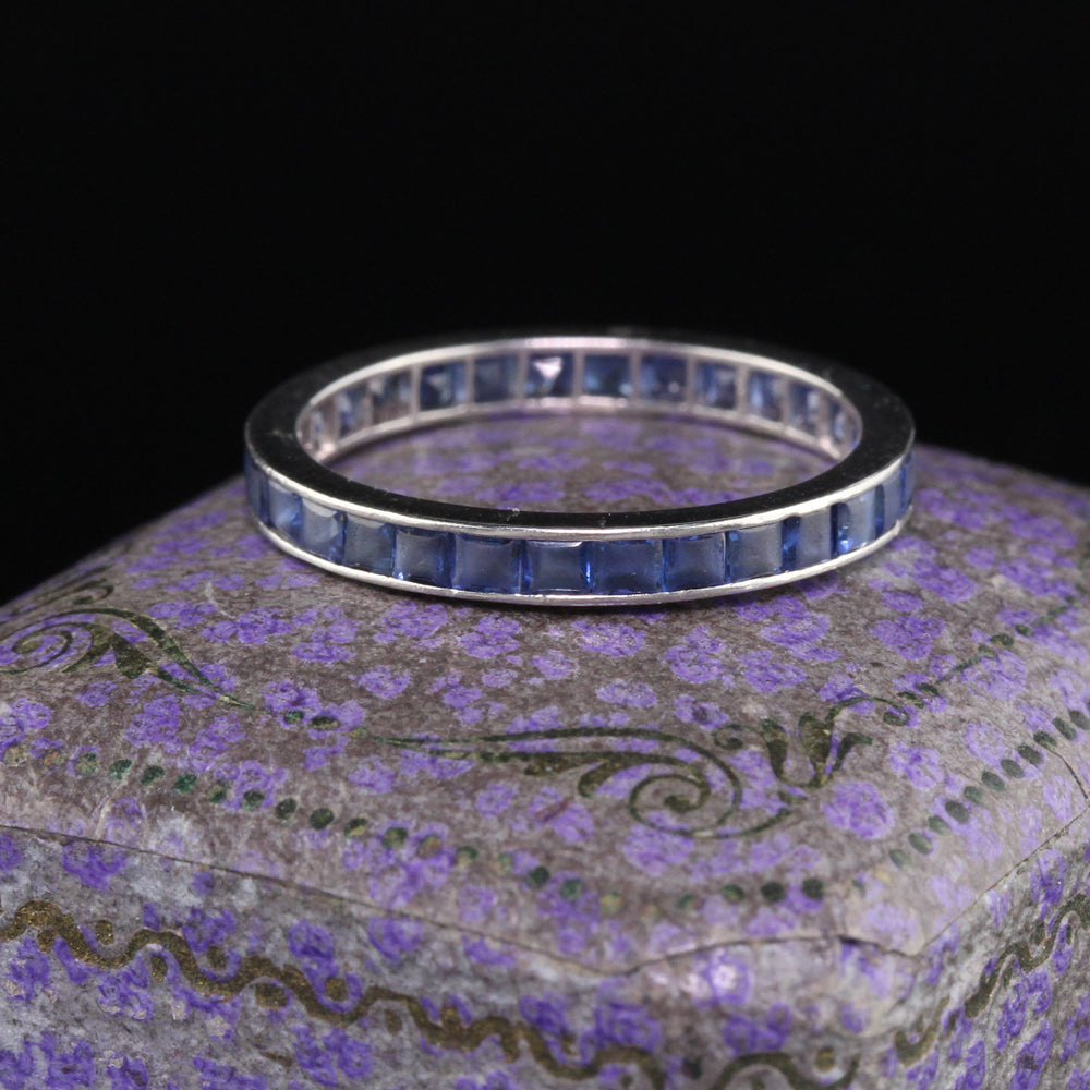 Antique Art Deco Platinum Sapphire Wedding Eternity Band