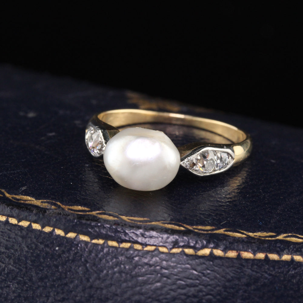 Antique Edwardian Yellow Gold  Natural Pearl & Diamond Engagement Ring