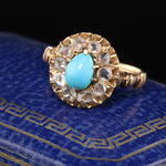 Antique Victorian 14K Yellow Gold Turquoise & Rose Cut Diamond Cluster Ring