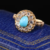 Antique Victorian 14K Yellow Gold Turquoise & Diamond Cluster Ring