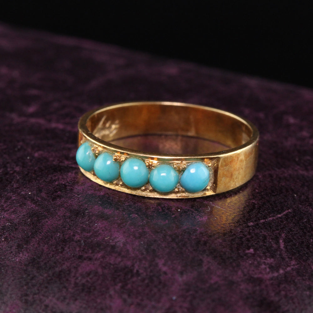 Circa 1968 - Vintage Estate 18K Yellow Gold Turquoise Stacking Band - The Antique Parlour