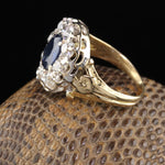 Edwardian 18K Yellow Gold Platinum Top Sapphire & Diamond Cluster Ring