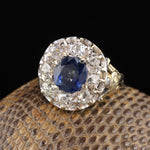 Antique Edwardian 18K Yellow Gold Platinum Top Ceylon Sapphire & Diamond Cluster Ring
