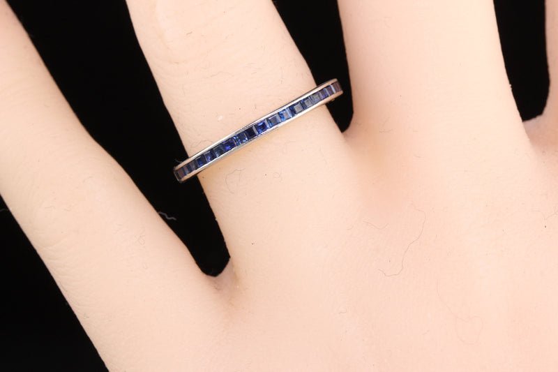 Antique Art Deco Platinum Sapphire Wedding Band - Size 8 - The Antique Parlour