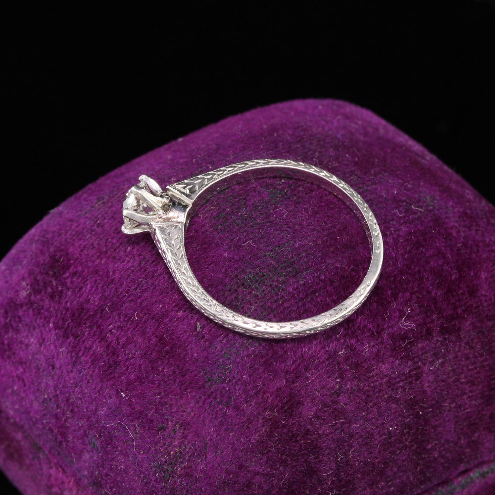 Antique Art Deco Platinum Diamond Engagement Ring - The Antique Parlour