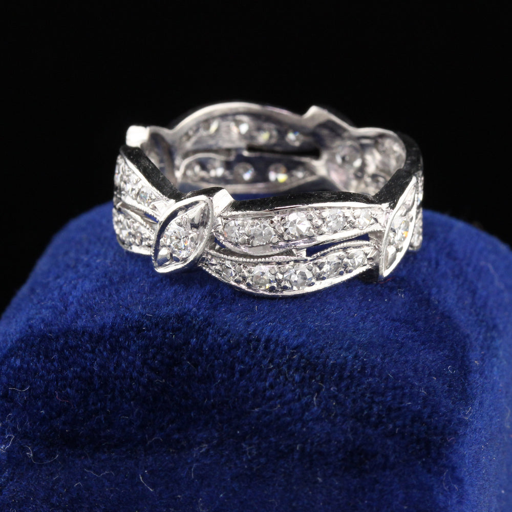Vintage Retro Platinum Diamond Eternity Band - Size 8