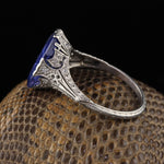 Circa 1914 - Antique Edwardian Platinum Ceylon Unheated Color Change Sapphire & Diamond Cocktail Ring - GIA!
