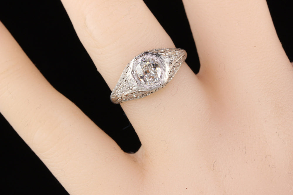Antique Edwardian Platinum Cushion Cut Diamond Engagement Ring - GIA! - The Antique Parlour