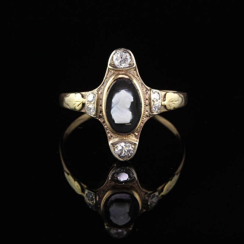 Antique Victorian 12K Yellow Gold Black Cameo & Diamond Ring