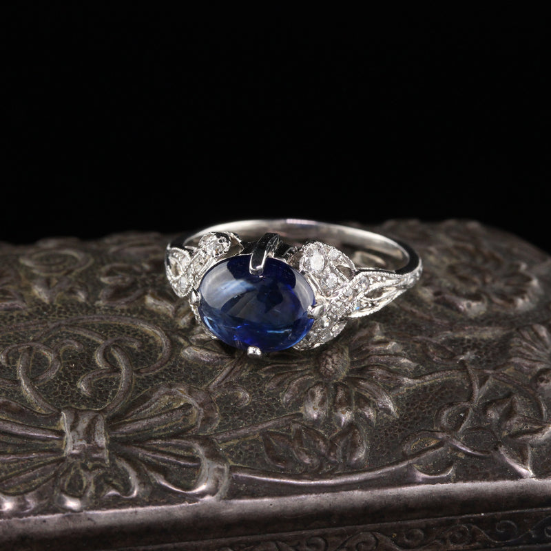 Antique Art Deco Platinum Cabochon Sapphire & Diamond Cocktail Ring - The Antique Parlour