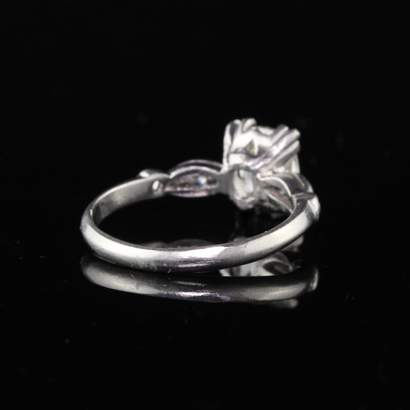 Antique Art Deco Platinum Old Cushion Cut Diamond Engagement Ring - The Antique Parlour