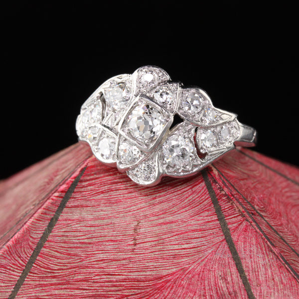 Antique Art Deco Platinum & Diamond Ring - The Antique Parlour