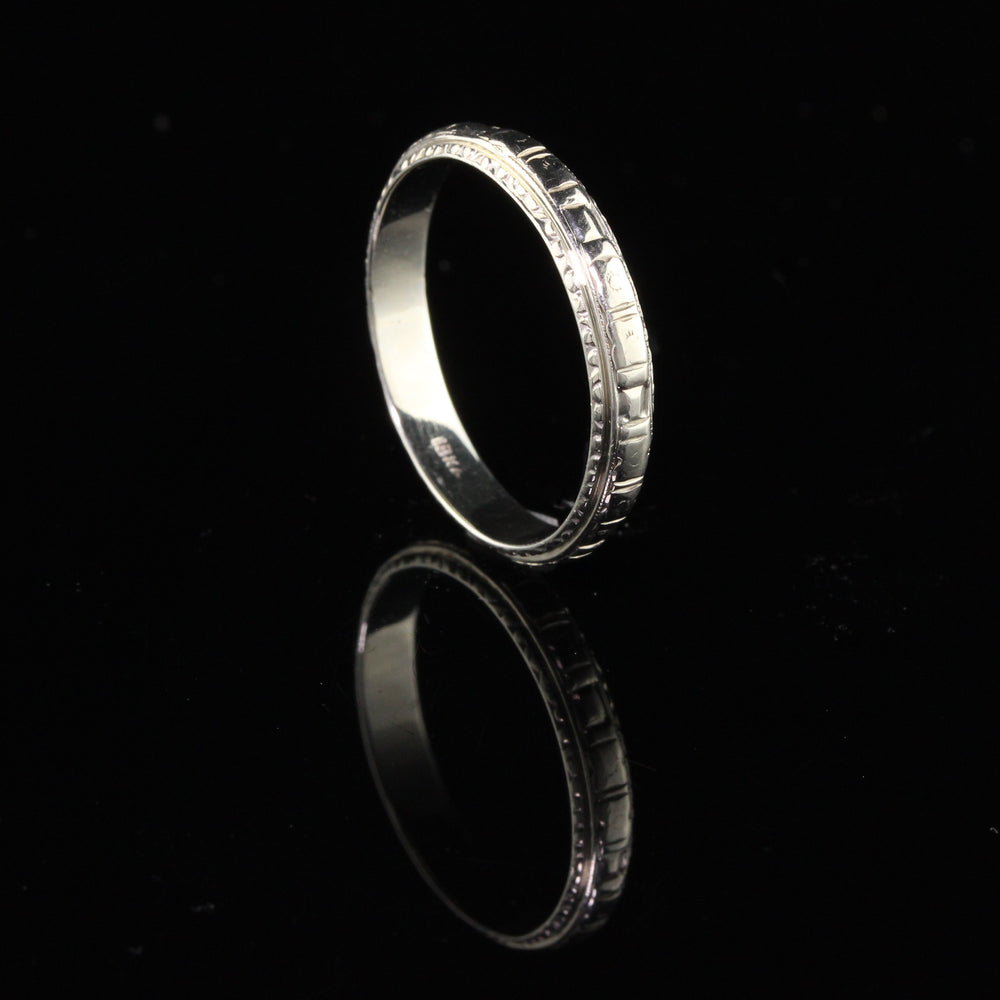 Antique Art Deco 18K White Gold Engraved Wedding Band - Size 9 1/2