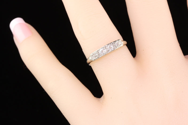 RESERVED - Vintage Estate 14K White Gold Diamond Wedding Band