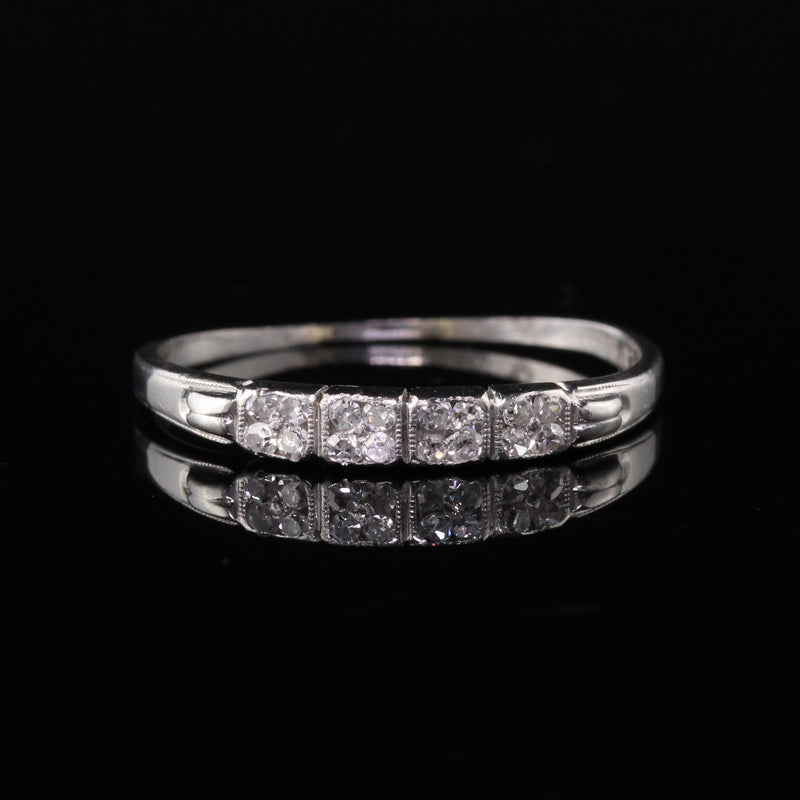 Antique Art Deco Platinum Diamond Half-Eternity Wedding Band
