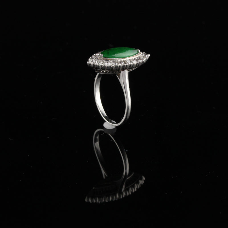 Antique Art Deco Platinum Jade & Diamond Navette Ring