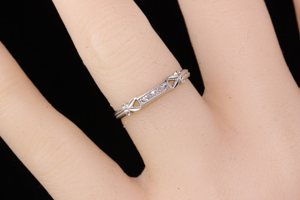 Antique Edwardian Platinum 5-Stone French Cut Diamond Wedding Band