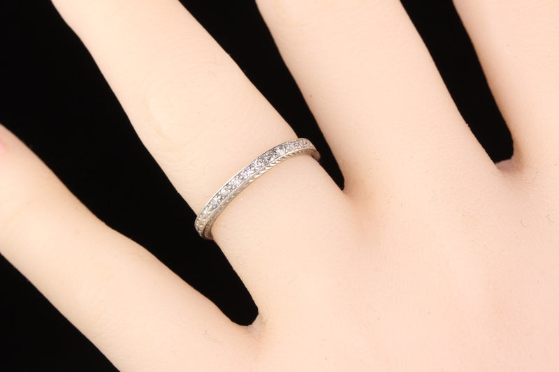 Circa 1928 - Antique Art Deco Platinum Diamond Half Eternity Band - Size 5 3/4