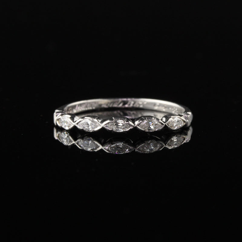 Circa 1942 - Vintage Estate Platinum Marquise Cut Diamond Half Eternity Band - Size 5 3/4