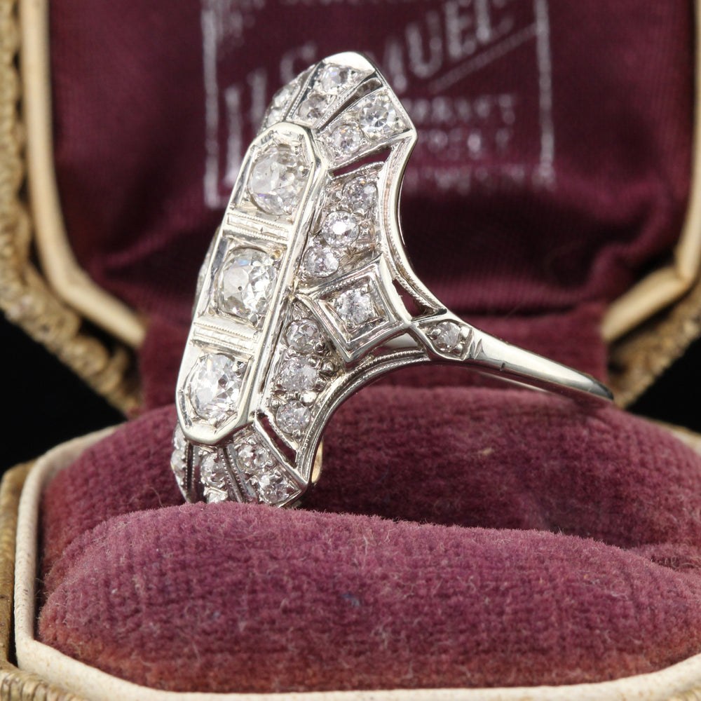 Antique Art Deco 18K White Gold & Diamond Shield Ring - The Antique Parlour