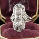 Antique Art Deco 18K White Gold & Diamond Shield Ring