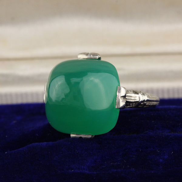 Antique Art Deco 14K White Gold & Chalcedony Cocktail Ring - The Antique Parlour