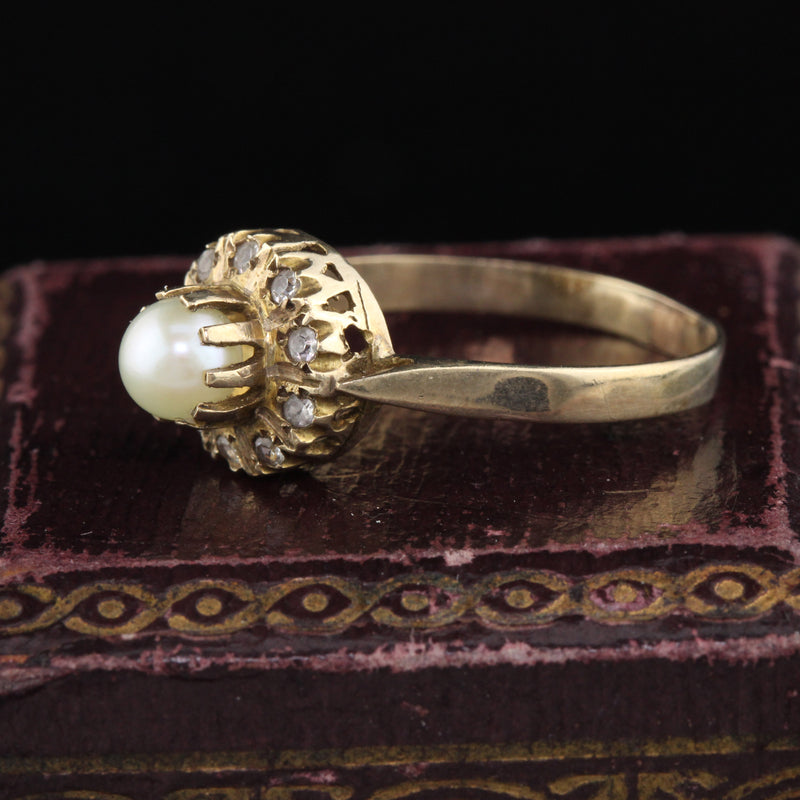 Antique Georgian 14K Yellow Gold Pearl & Paste Cluster Ring - The Antique Parlour