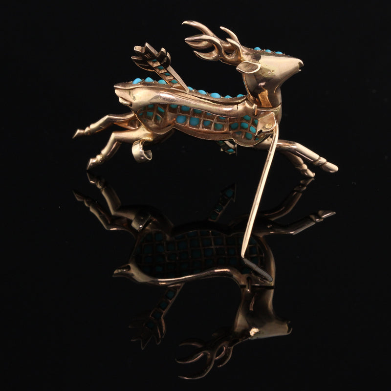 Antique Victorian 14K Yellow Gold & Turquoise Deer Brooch - The Antique Parlour