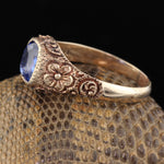Antique Victorian Yellow Gold Ceylon Sapphire Hammerman Brothers Ring