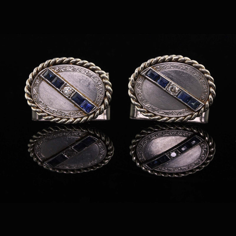 Antique Art Deco Platinum and Gold, Diamond and Sapphire Cufflinks - The Antique Parlour
