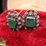 Antique Georgian 18K Yellow Gold & Silver Top, Emerald and Diamond Earrings