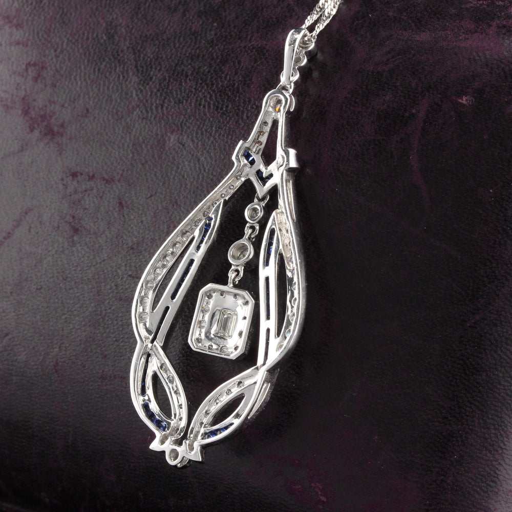 Art Deco Style 18K White Gold Diamond and Sapphire Necklace - The Antique Parlour